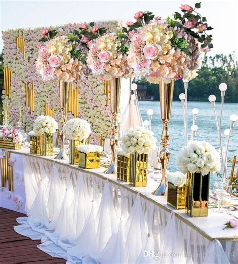 2019 Royal Gold Silver Tall Big Flower Vase Wedding Table