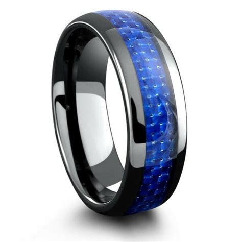 mens black ceramic wedding band  blue woven carbon
