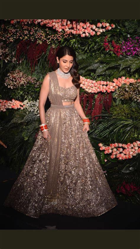 Anushka Sharma for her Mumbai reception. Wearing