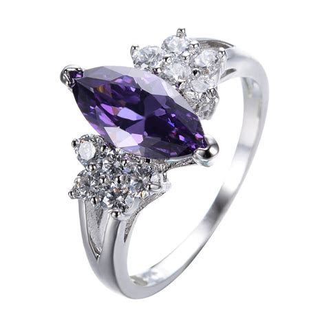 Size 5 9 Marquise Cut Purple Amethyst AAA CZ Wedding Ring