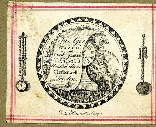 An un-cut watch-paper of Jonathan Ager, watch and clock-maker