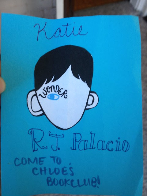 Invitation to book club for Wonder by RJ Palacio