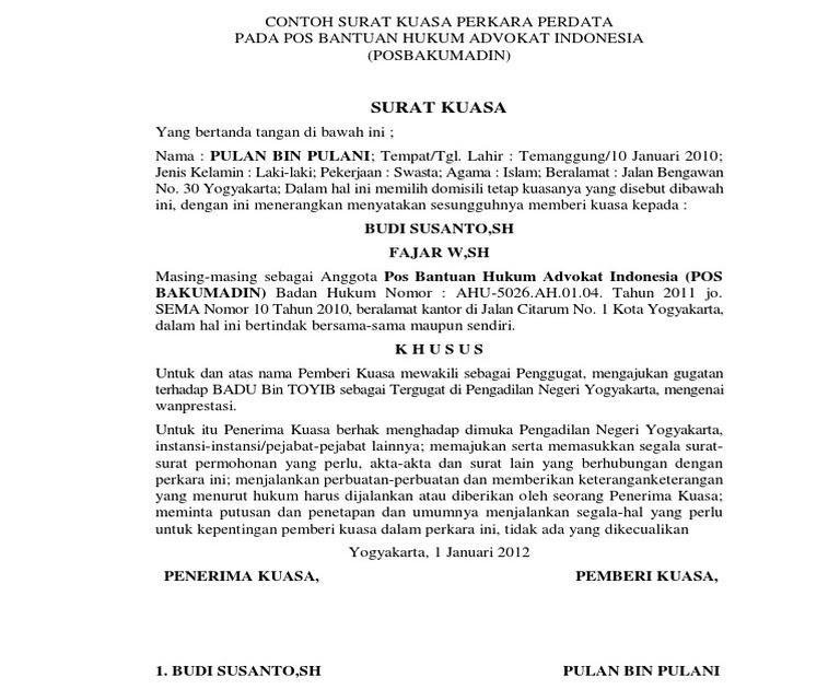 Contoh Surat Kuasa Format Pdf - Rasmi Ri