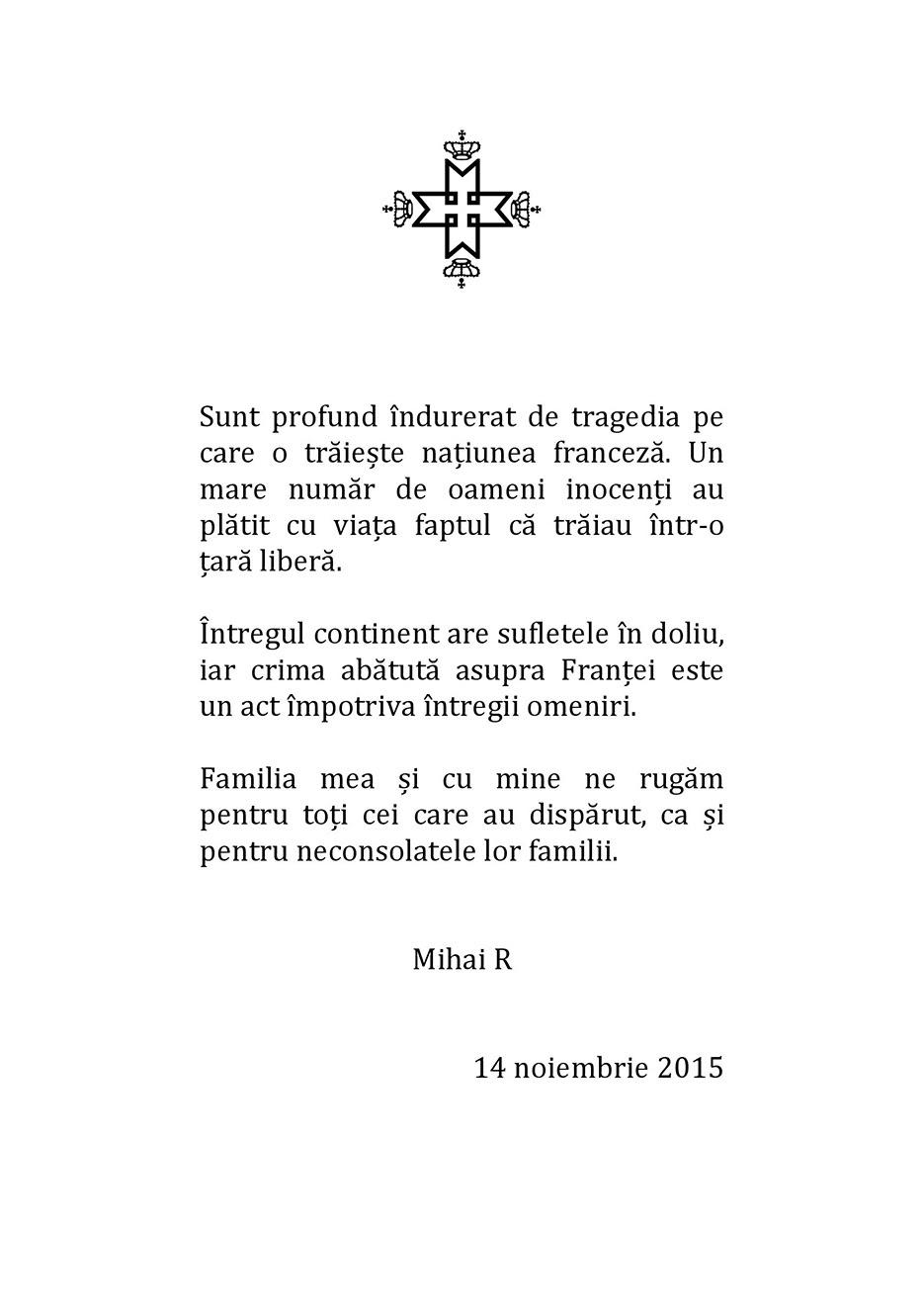 Mesajul Majestatii Sale Regelui Mihai I pentru președintele Republicii Franceze.