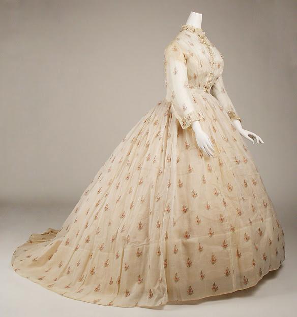 Sheer silk dress c. 1865 from The Met.