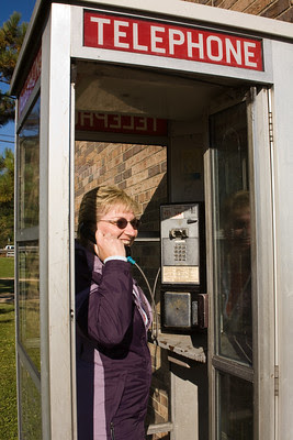 Linda in Antique Telephone Booth, Juneau County, Wisconsin