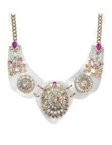 Shourouk Design Blue Rhinestone Flower Women Necklace