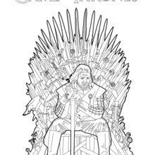 Coloriages Game Of Thrones Ned Stark Sur Le Trône De Fer Fr