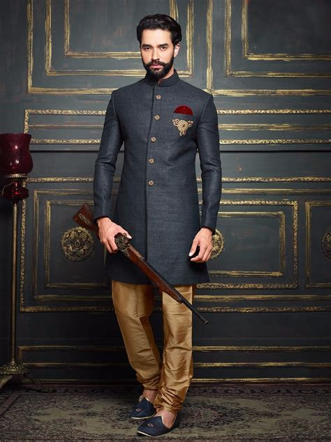 Dark Grey Terry Rayon Solid Jodhpuri Sherwani   Men's Indo