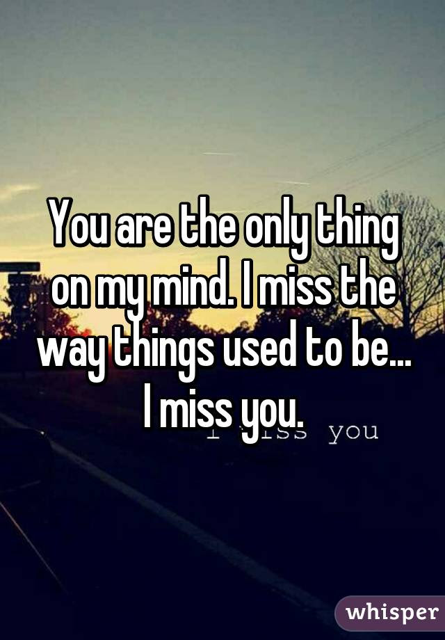 You Are The Only Thing On My Mind I Miss The Way Things Used To Be