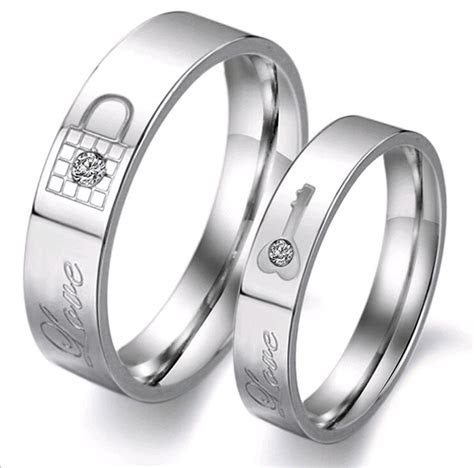 "Lock and Key Promise Ring "" Love "" Engraved Couples"