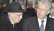 Il Capo dello Stato col premier Mario Monti