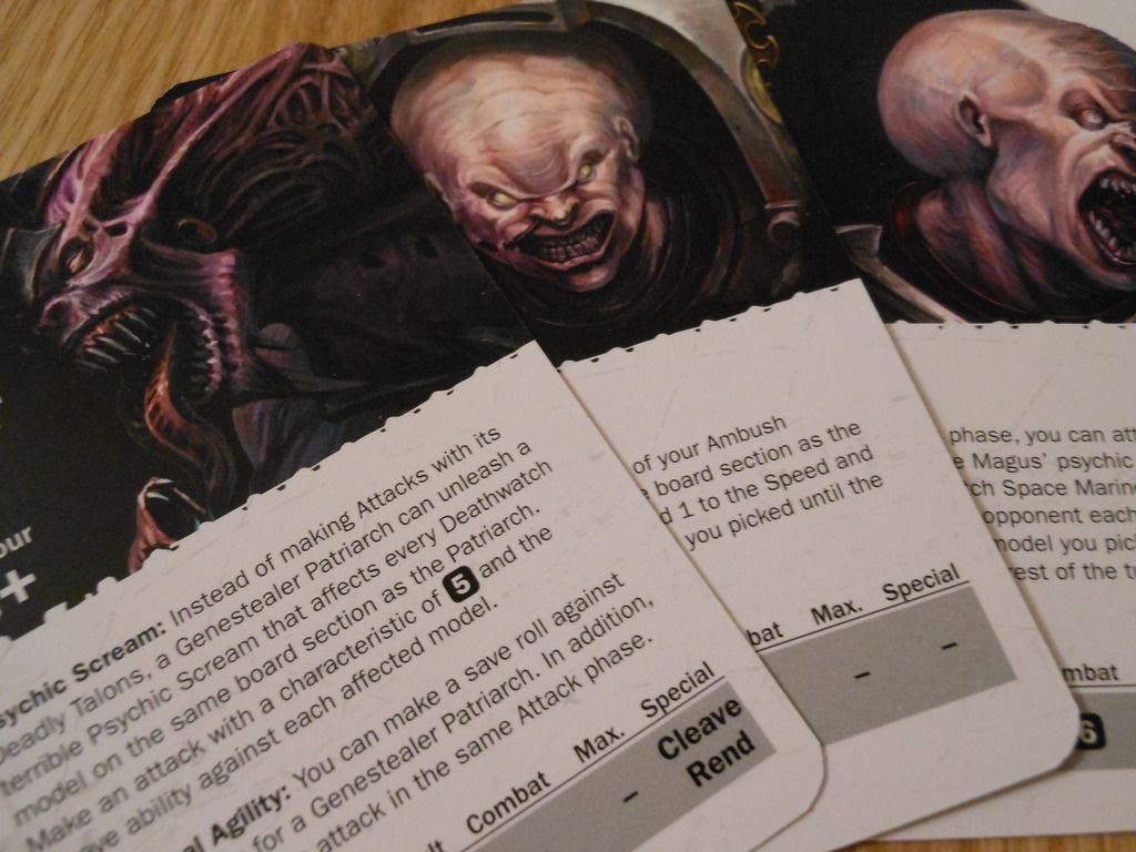 Character cards for the genestealer cult from Deathwatch: Overkill board game: a patriarch, magus, and primus.