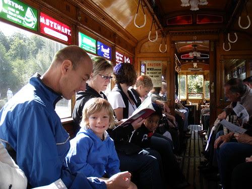 aboard the tram