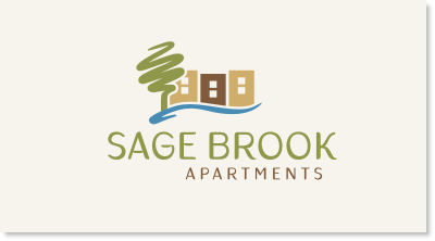 """Sage Brook is a community of over 200 apartments constructed in the 1970's and including one and two bedrooms. This is not a """"Class A"""" property, but instead is more of a blue collar, """"Class C"""" property. The apartments are two and three story walk-ups, so this is not a high-rise building. It is located just east of Denver, Colorado logo design"""
