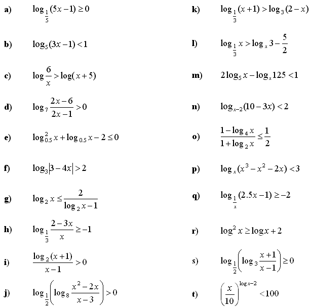Math Exercises Math Problems Logarithmic Equations And Inequalities