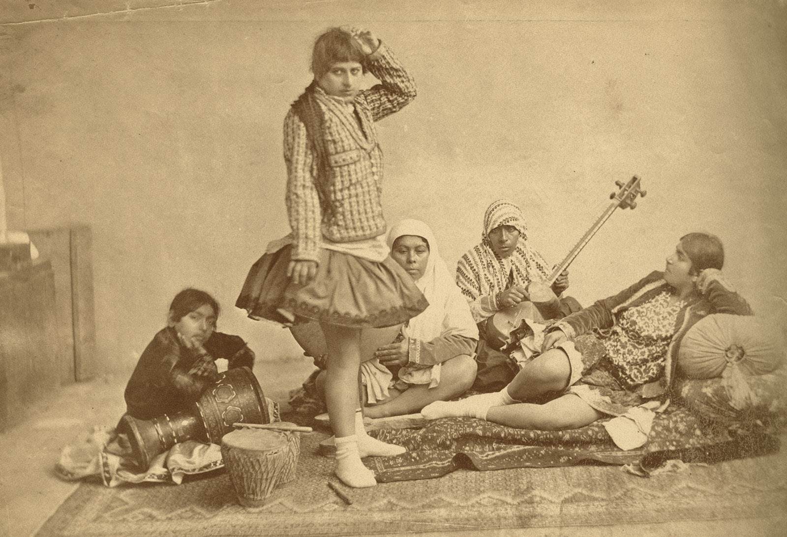 Dancers and musicians at the Qajar court, photograph taken by Antoin Sevruguin, late nineteenth century