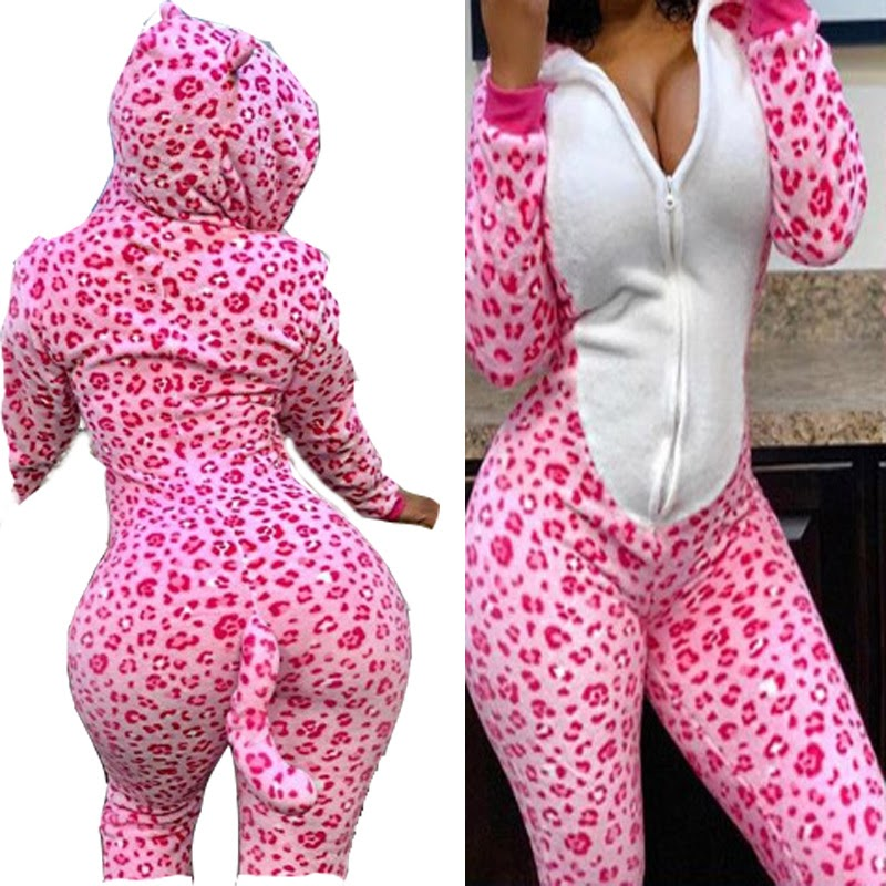 Buy  Sexy lingerie sexy leopard print cat costume role play long sleeve sexy pajamas