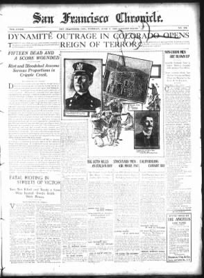 6/7/1904 - DYNAMITE OUTRAGE IN COLORADO OPENS REIGN OF TERROR