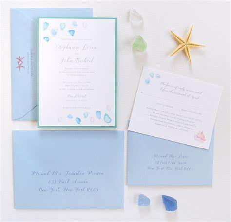Sea Glass Beach Wedding Invitations   Custom Invitations