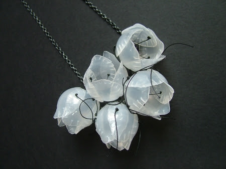 Pod Cluster Necklace on oxidised silver made from recycled contact lens containers