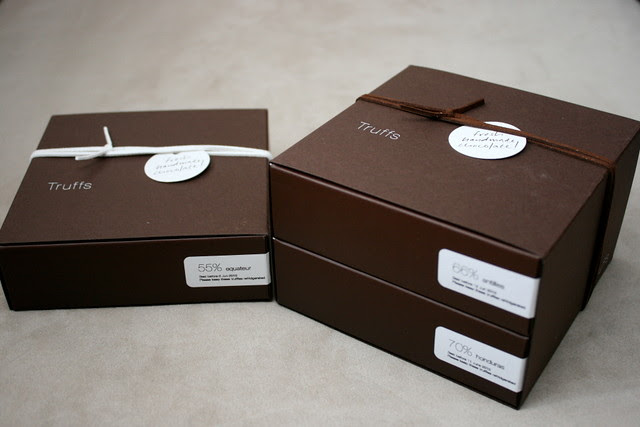 A box of 9 truffles (S$24) and 18 truffles (S$43)