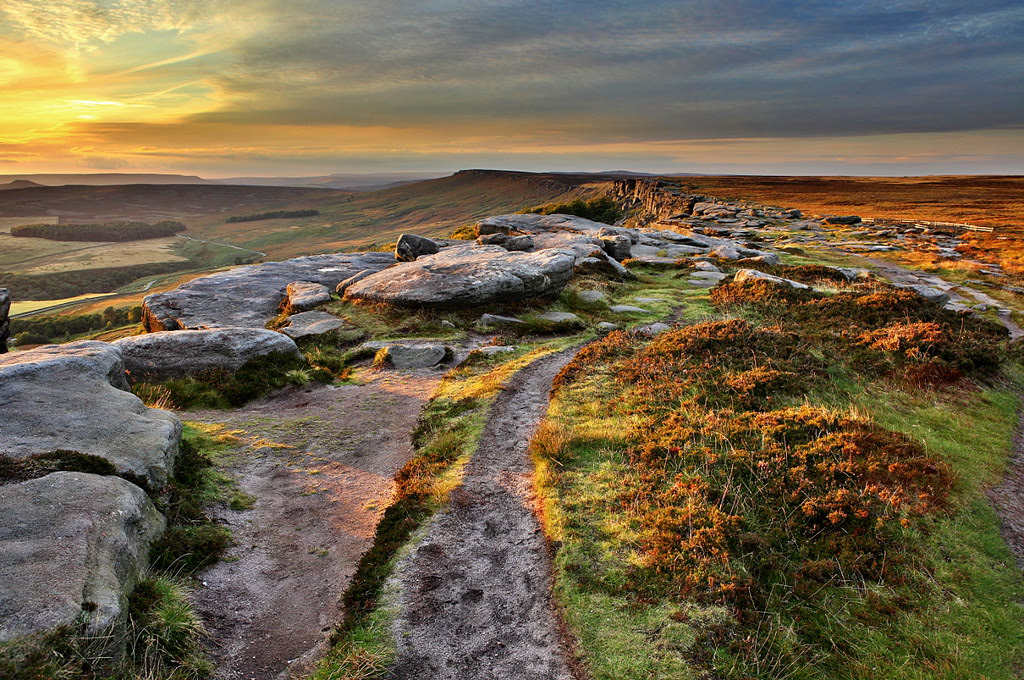 Evening light over stanage edge in the peak district, derbyshire, yorkshire. With purple heather and golden light on the grass.