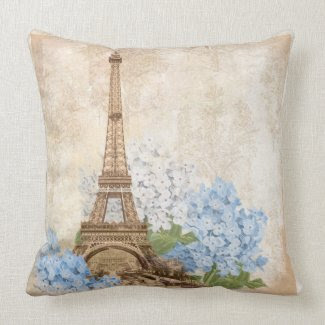 Paris Vintage Blue Hydrangea Pillow