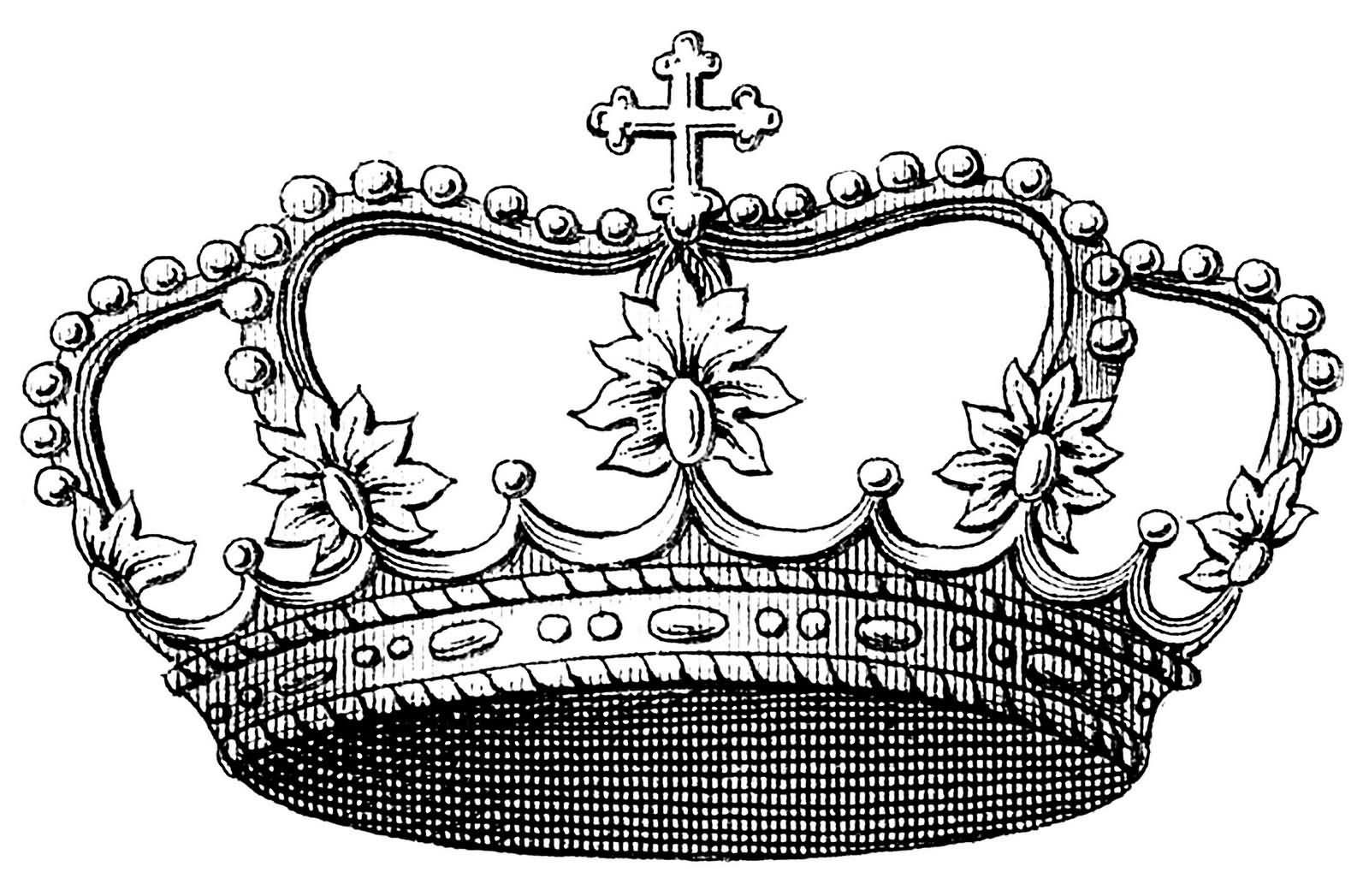 Amazing Grey Ink Queen Crown Tattoo