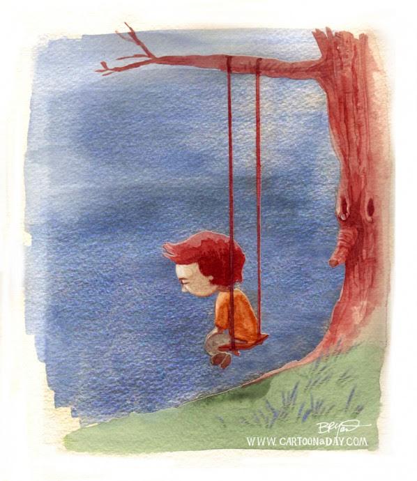 Cartoon Little Boy Alone Swinging Cartoon Cartoon A Day