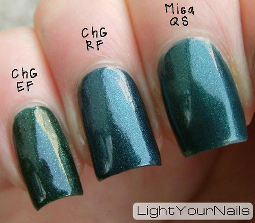 Misa Quirky Smile, China Glaze Emerald Fitgerald, China Glaze Rodeo Fanatic comparison