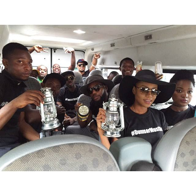Yvonne Nelson and some celebrities on their way to the vigil
