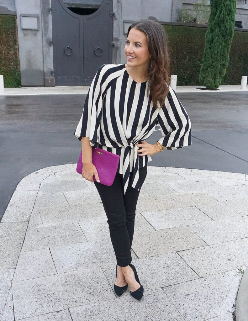 Striped Top for Work and Play  Lady in Violet  Houston Fashion