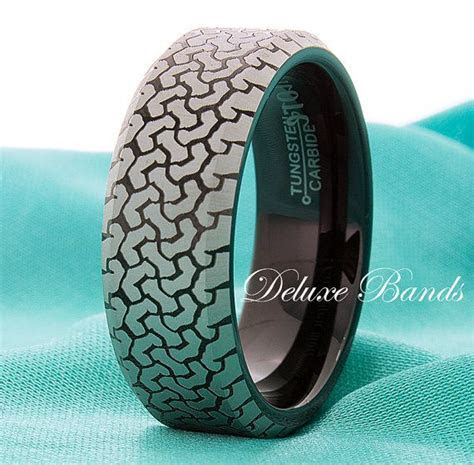 Truck Tire Tungsten Ring,Black Tungsten Band,Tire Pattern