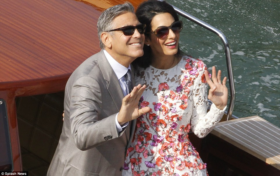 A weekend to remember! The lawyer and actor gave regal waves as they jetted across the pristine blue waters of Venice