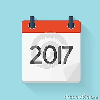 Calendar 2017 Flat Daily Icon. Vector Illustration Emblem. Stock ...