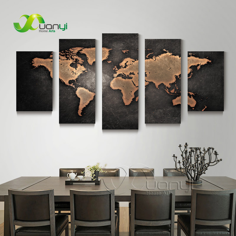 5 Piece Wall Art World Map Canvas Abstract Oil Painting