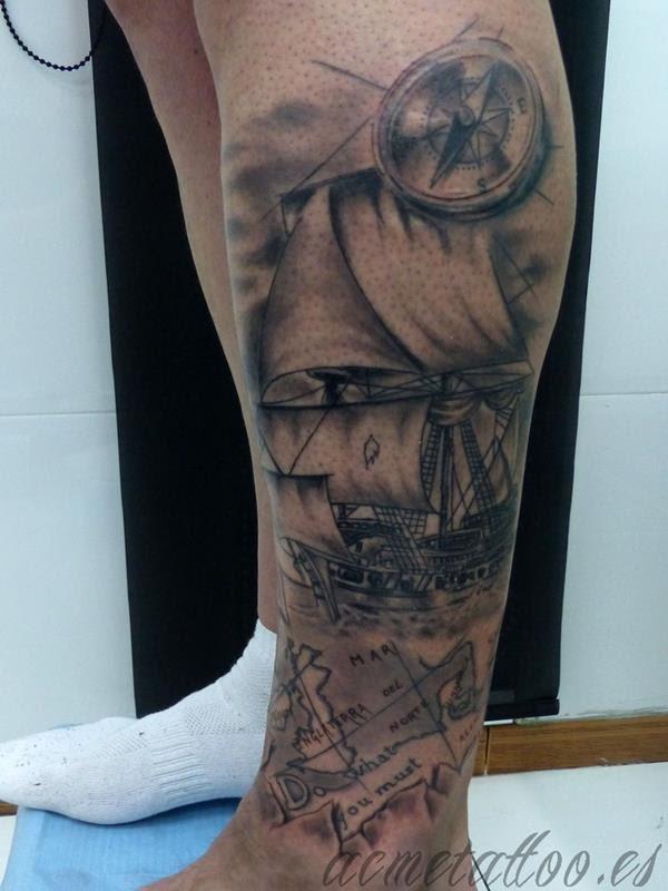 Galeon Brujula Mapa Pierna Estrella Vientos Acme Tattoo Tatuaje