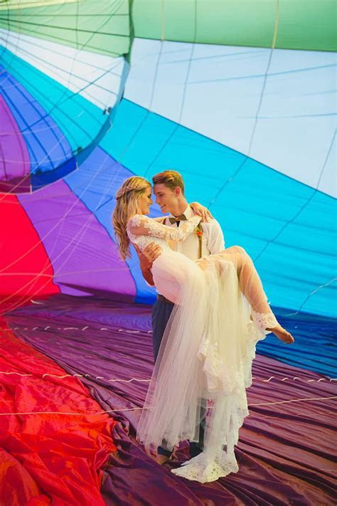 Vibrant Hot Air Balloon Wedding Inspiration   The Wedding
