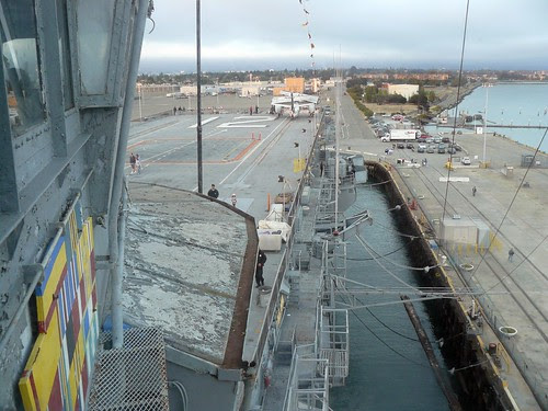 Looking out from the Hornet's bridge toward the bow of the great ship