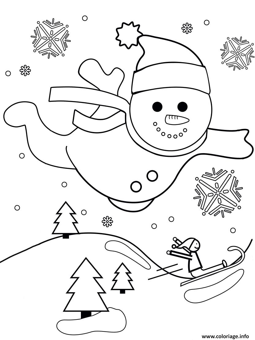 Coloriage Bonhomme De Neige Vol Au Dessus Dun Paysage De Noel