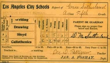 Grace Sutherland report card (1896-1897)