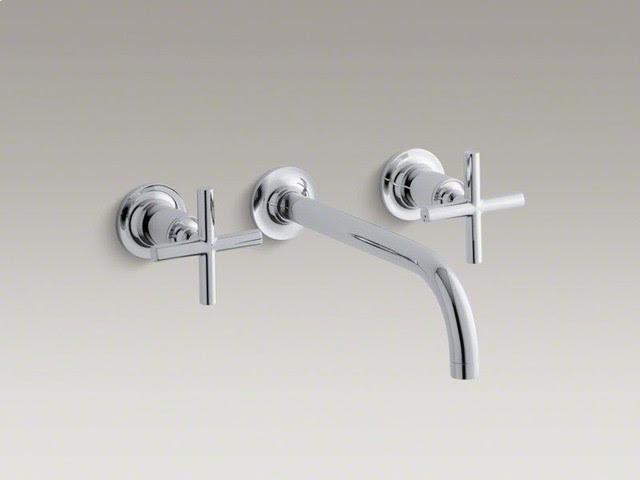 KOHLER Polished Chrome Purist® Wall-mount Bathroom Sink Faucet
