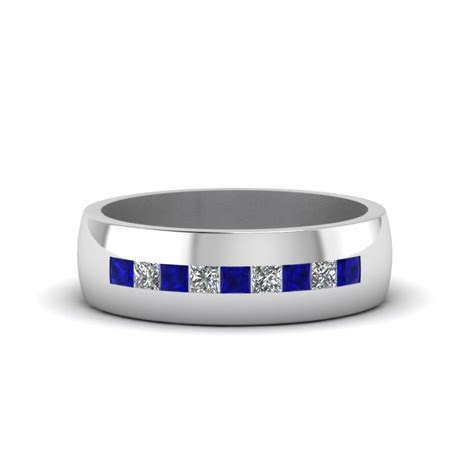 Channel Set Princess Cut Diamond Band For Men With Blue