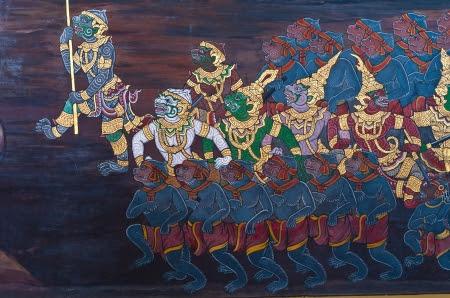 Hanuman,This mural in watprakeaw bangkok,Thailand,Public Domain  Stock Photo - 14359973