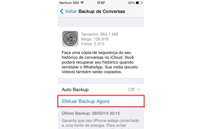 Realize o backup no WhatsApp (Foto: Laura Rezende /TechTudo)