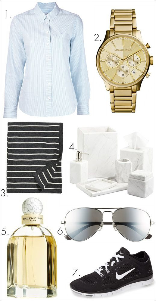 Le Fashion Blog Nordstrom Anniversary Sale Minimal Style Top Picks 1. Equipment Margaux Pinstripe Cotton Shirt 2. Michael Kors Bailey Chronograph Bracelet Watch in Gold 3. Amity Home Devin Cotton Throw 4. Waterworks Luna Bathroom Accessories Collection in White Marble 5. Balenciaga Paris Fragrance Set 6. MICHAEL Michael Kors Aviator Sunglasses in Silver 7. Nike Free 5.0 TR Fit 4 Training Shoe in Black/White photo Le-Fashion-Blog-Nordstrom-Anniversary-Sale-Minimal-Style-Top-Picks.jpg