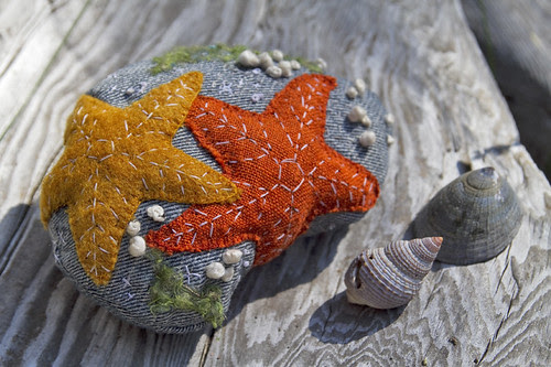 orange ochre stars on a rock
