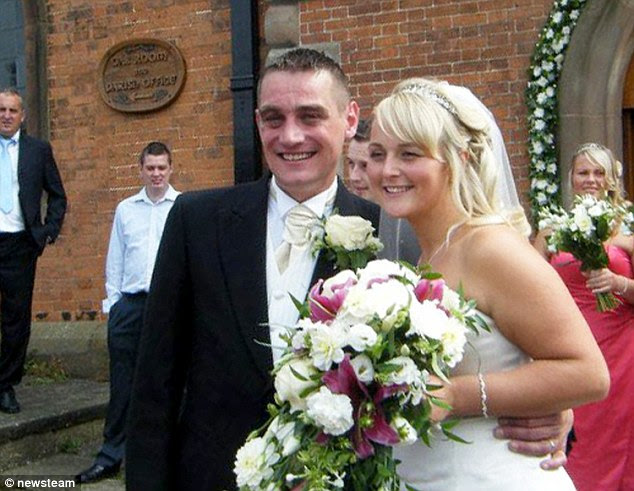 Gemma Sinclair, 31, pictured with husband Jamie on her wedding day. The mother-of-two suffered a heart attack and suddenly died as she lay in bed next to husband Jamie - her childhood sweetheart