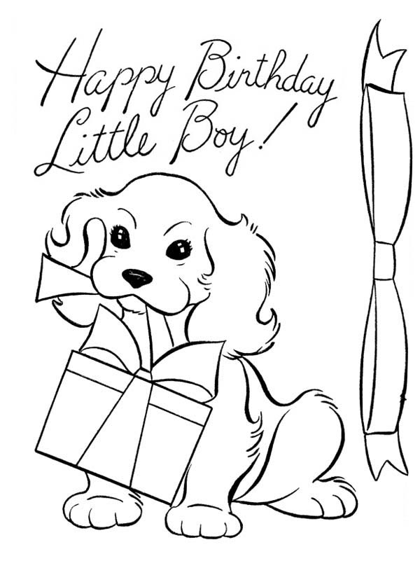 A Dog and Happy Birthday Present Coloring Page: A Dog and ...